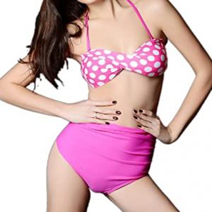 Wholesale Joblot of 10 Pink Polka Dot Bikini Set High Waist Sizes S & M