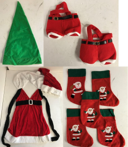 One Off Joblot of 14 Mixed Christmas Items - Elf Hats, Bags, Costume, Stockings