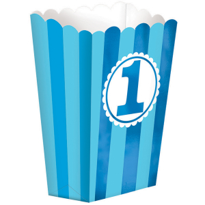 Wholesale Joblot of 50 Amscan 1st Birthday Popcorn Style Favor Boxes (Pack of 5)