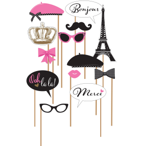 Wholesale Joblot of 24 Amscan A Day in Paris Photo Props (13 Piece Set)