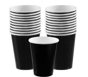 Wholesale Joblot of 24 Amscan Black Paper Party Cups 266ml (Pack of 20)