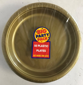 Wholesale Joblot of 10 Amscan Gold Plastic Party Plates 26cm (Pack of 50)