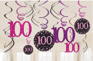 Wholesale Joblot of 30 Amscan 100th Birthday Swirl Decorations (Pack of 12)