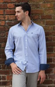 Wholesale Joblot of 10 Freddie Parker Mens Blue Stripe Classic Fit Shirt S-XXL