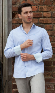 Wholesale Joblot of 10 Freddie Parker Mens Light Blue Stripe Shirt S-XXL