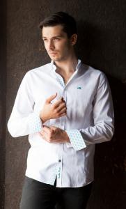 Wholesale Joblot of 10 Freddie Parker Mens White/Turquoise Shirt S-XXL
