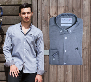 Wholesale Joblot of 10 Freddie Parker Mens Grey Slim Fit Logo Shirt Mixed Sizes