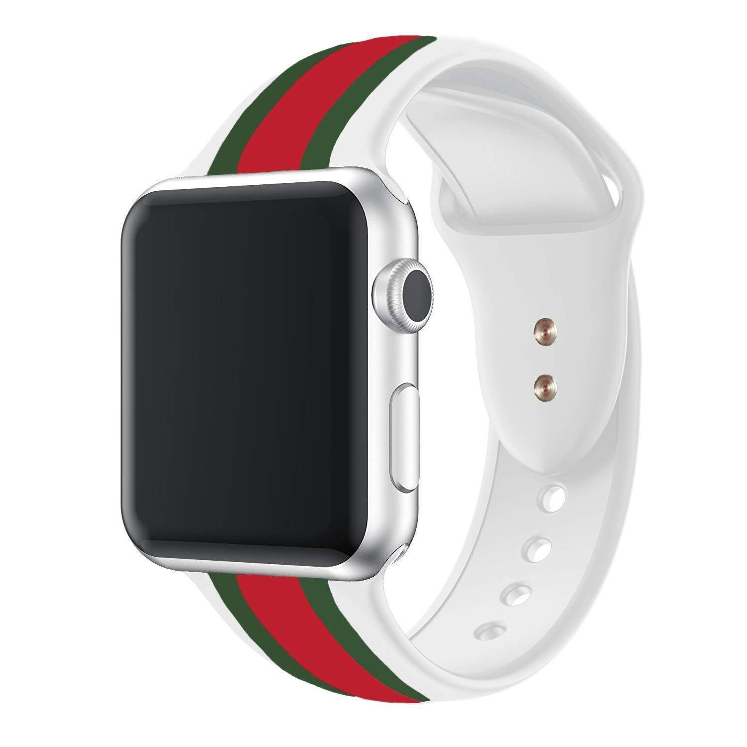 Compatible with Apple Smart Watch Sports Silicone Bands Black White Design Strap Only