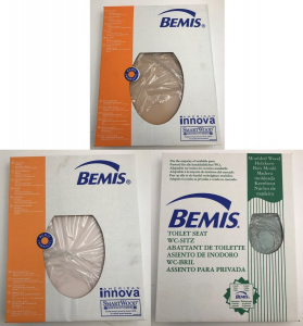Pallet of 180 Bemis Moulded Wood Toilet Seats in 3 Colours