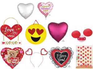 One Off Joblot of 168 Amscan Valentine's Day Stock - Balloons, Signs & More