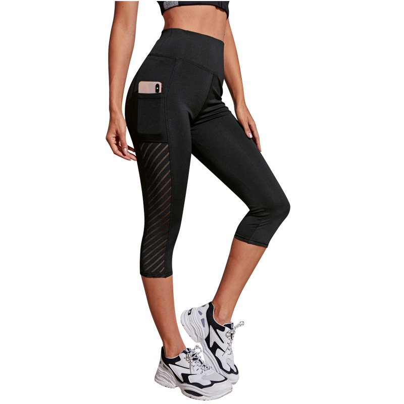 10pc Ladies Cropped 3/4 Leggings/Yoga Pants High Waist Fitness Leggings with Pockets Size UK 8-12|GCL091