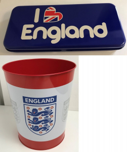 One Off Joblot of 116 England Stock - Metal Tin Pencil Cases & Official FA Bins