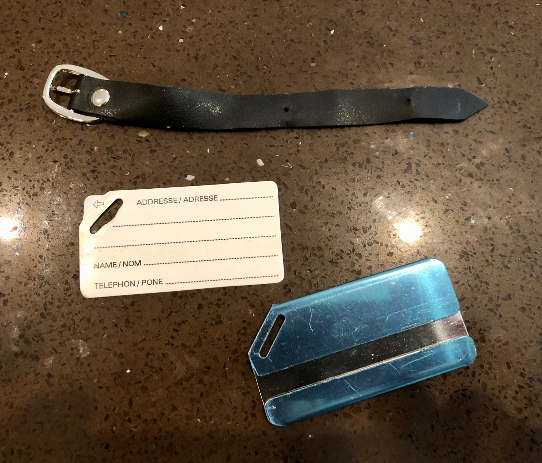 Metal Luggage Tags with ID Label - New - Metallic Blue - 100 Units