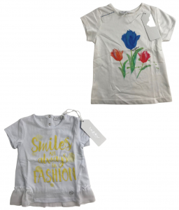 One Off Joblot of 6 Byblos Girls White T-Shirts in 2 Styles Sizes 6m - 4 Years