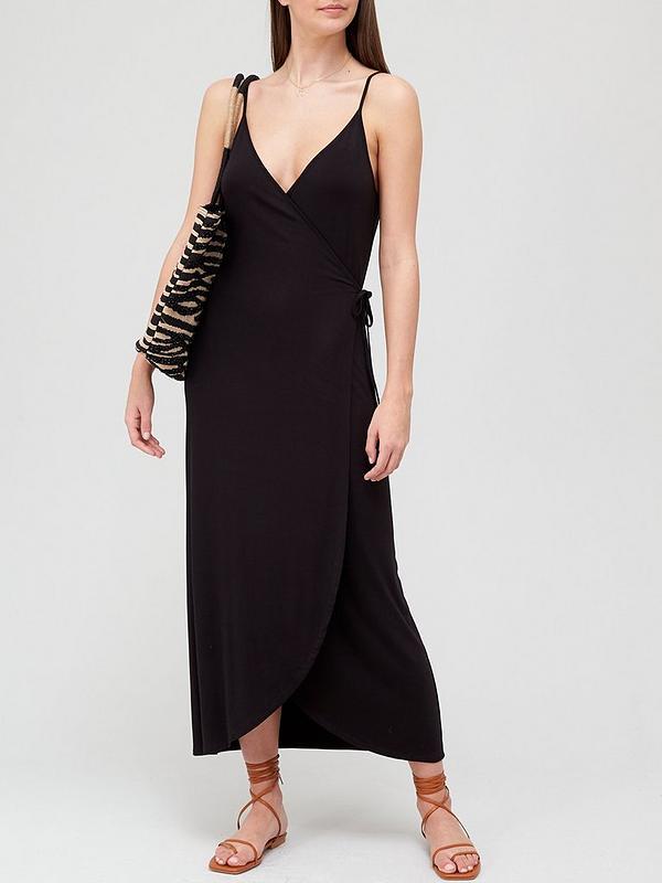 20 x Very Strappy Wrap Maxi Dress - Black SIZE 14