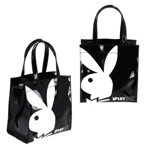 Playboy Gift range small patent shopper bag Black/White PA7700-BLK
