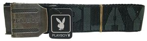 Joblot of 10 Black Unisex Fabric Playboy Adjustable Size Belts PM0117-BLK