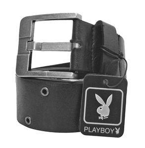 Joblot of 10 Playboy Cut-Out Silver Buckle Belts Black Unisex PM0115-BLK
