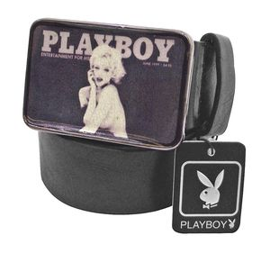 Joblot of 10 Playboy Photograph Buckle Belts Black Unisex PM0107-BLK
