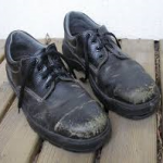 Well worn steel toe shoes