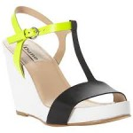 Modern, wedge heeled T bar sandal