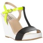 Modern, wedge heeled T bar sandal