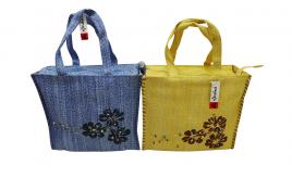 Wholesale Joblot Of 10 Ladies Woven Shopper Bags With Hibiscus Flower Prints