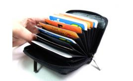 JOB LOT LUXURY SOFT BLACK REAL LEATHER CONCERTINA STYLE CREDIT CARD HOLDER - 48 pieces