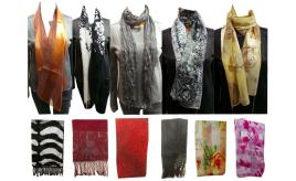 Wholesale Joblot of 100 Ladies Assorted Scarves Great Mixture of Styles