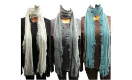 Wholesale Joblot of 24 Ladies Soft Feeling Tassel Scarves 4 Colours
