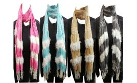 Wholesale Joblot of 24 Ladies Pleated Striped Scarves With Fluffy Detailing