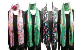 Wholesale Joblot of 24 Ladies Thin Fashion Accessory Print Scarves 4 Designs