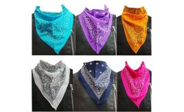 Wholesale Joblot of 24 Ladies Mixed Colour Paisley Neckerchiefs