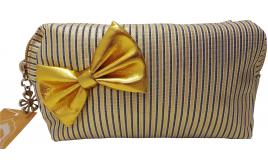 Wholesale Joblot of 11 Madame Posh Ladies Striped Cosmetic Bags With Gold Bow