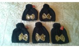 Joblot of 5 Ladies Black Bobble hats with sequin bow