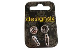 Wholesale Joblot of 20 DesignSix Vintage Silver Safety Pin & Button Earring Sets