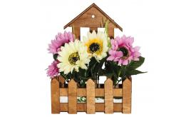 One Off Joblot Of 12 Artificial Yellow and Pink Daisies in Wooden Planters