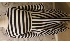 Plus Size Black and White Striped Dress with Pockets - Factory Seconds