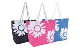 Wholesale Joblot of 36 Flower Print Rope Handle Tote Bags 3 Colours BB0865C