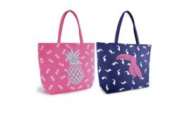Wholesale Joblot of 24 Canvas Tote Bags With Toucan & Pineapple Prints BB1017