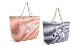 Wholesale Joblot of 24 Paperstraw Striped Bags With Summer Slogans BB1020