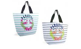 Wholesale Joblot of 24 Striped Canvas Bags With Paradise Beach Club Print BB1026