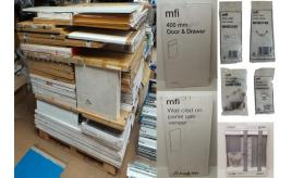 9 Pallets of 3216 Mixed Kitchen Doors, Drawers, Cabinets, Handles & More