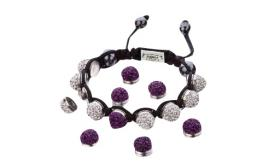Joblot of 14 Shimla Bracelet Sets Interchangeable Purple 'Fireball' Studs SH112