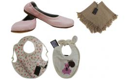 One Off Joblot of 4 Fendi Mixed Childrens Items - Bibs, Flats & A Poncho