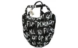 One Off Joblot of 10 Religion Womens Oversized Black Print Slouch Shoulder Bag