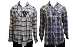 Wholesale Joblot of 10 Voi Jeans Mens Check Shirts 2 Colours Mixed Sizes