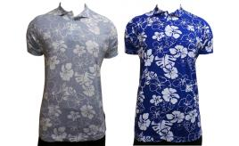 Wholesale Joblot of 10 French Connection Mens Flower Polo Grey & Black