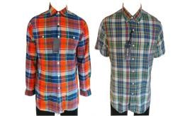 One Off Joblot of 17 Ralph Lauren Mens Check Shirts Long & Short Sleeve 2 Styles