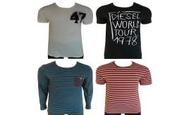 One Off Joblot of 8 Mens Branded T-Shirts - Farah, Diesel & Edwin Sizes M-XL